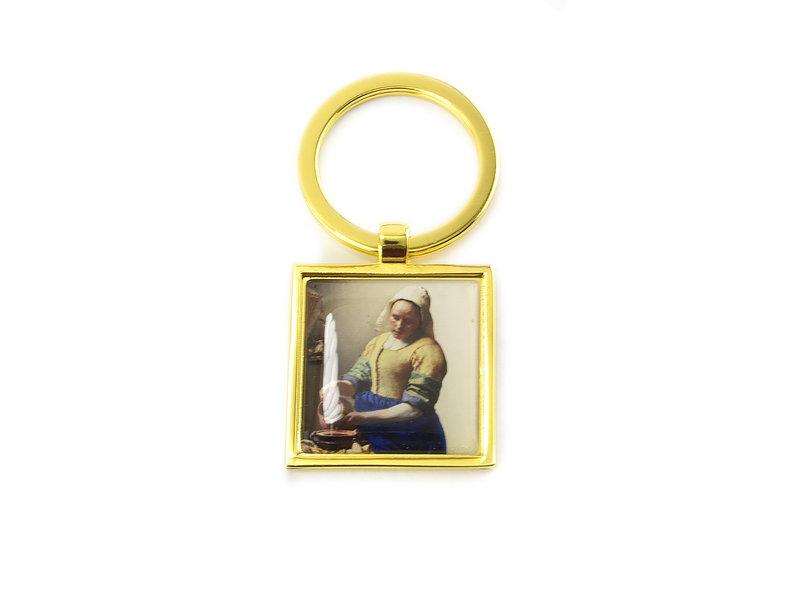 Keyring W, Metal gold, SQ, Milkmaid Vermeer