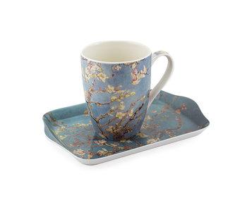 Conjunto: Taza y bandeja, flor de almendro, Van Gogh