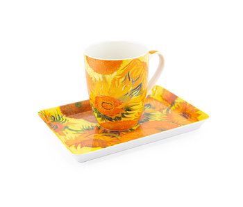 Set: Mug & tray, Sunflowers, Van Gogh