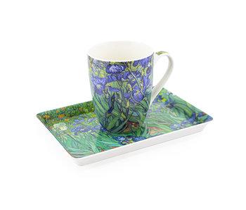 Ensemble: Tasse et plateau, Iris, Van Gogh
