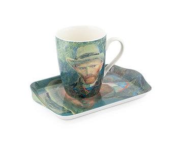 Set: Becher & Tablett, Selbstporträt, Van Gogh