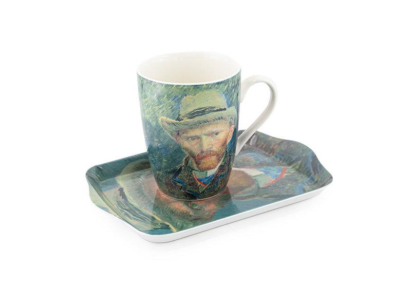 Ensemble : Mug et plateau, Autoportrait, Van Gogh