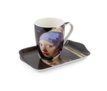 Conjunto: Taza y bandeja, Chica con un arete de perla, Vermeer