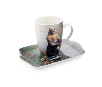Ensemble: Tasse et plateau, Laitière, Vermeer