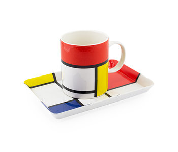 Set: Mok & dienblaadje, Mondriaan