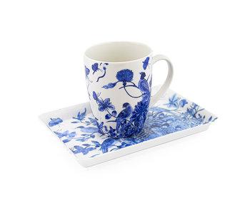 Ensemble: tasse et plateau, oiseaux bleus de Delft, Rijksmuseum