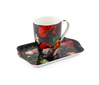 Set: Mug & tray, De Heem, Flower Still Life