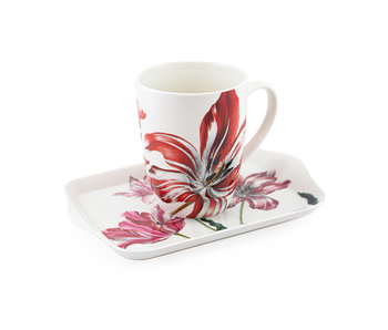 Set: Mug & tray, Merian, Three tulips