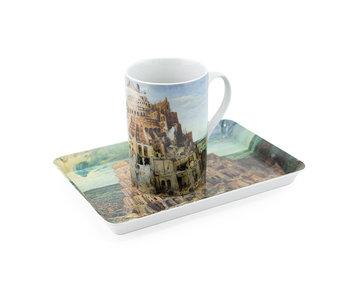 Set: Mug & tray, Bruegel, Tower of Babel