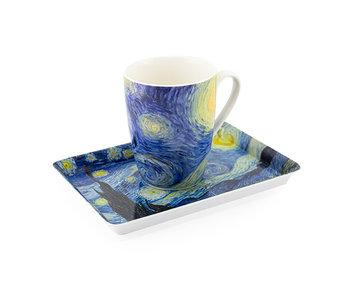 Set: Becher & Tablett, Sternennacht, Van Gogh