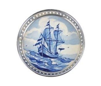 Dessous de bouteille bleu de Delft, navire -Galeone