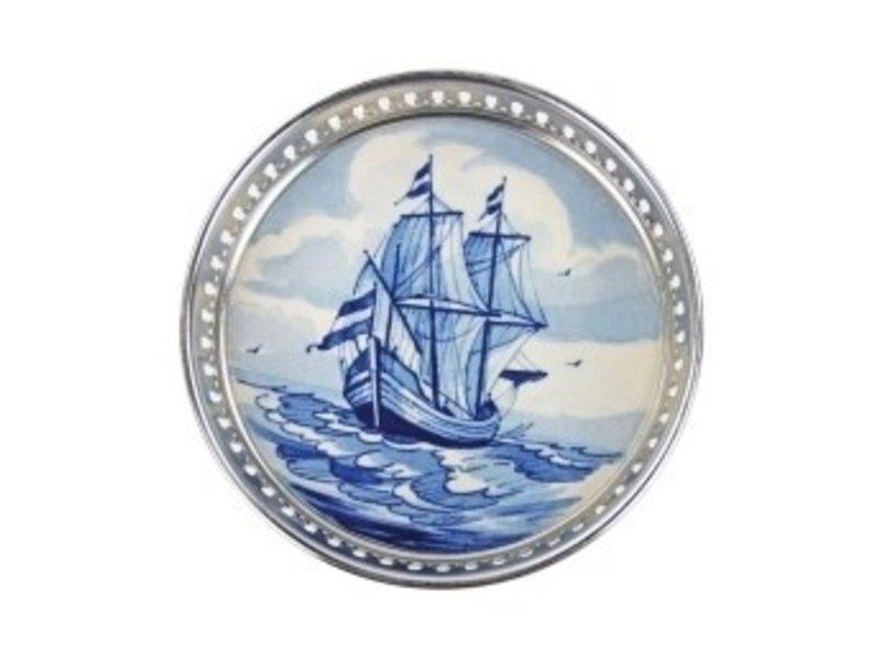 Delft blue bottle coaster, Galleon