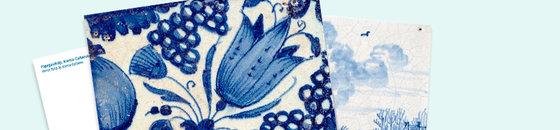 Postkarte Delfter blaue Fliesen