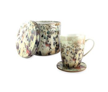 Set: Mug-tin-coaster, Avercamp, winter landscape