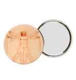 Espejo de bolsillo, grande, Ø 80 mm, Da vinci, hombre de Vitruvio