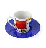 Set of 2 Espresso cups and saucers Mondriaan
