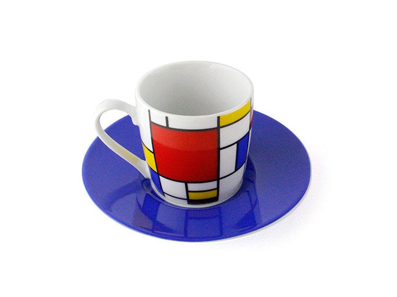Set of 2 Espresso cups and saucers Mondrian