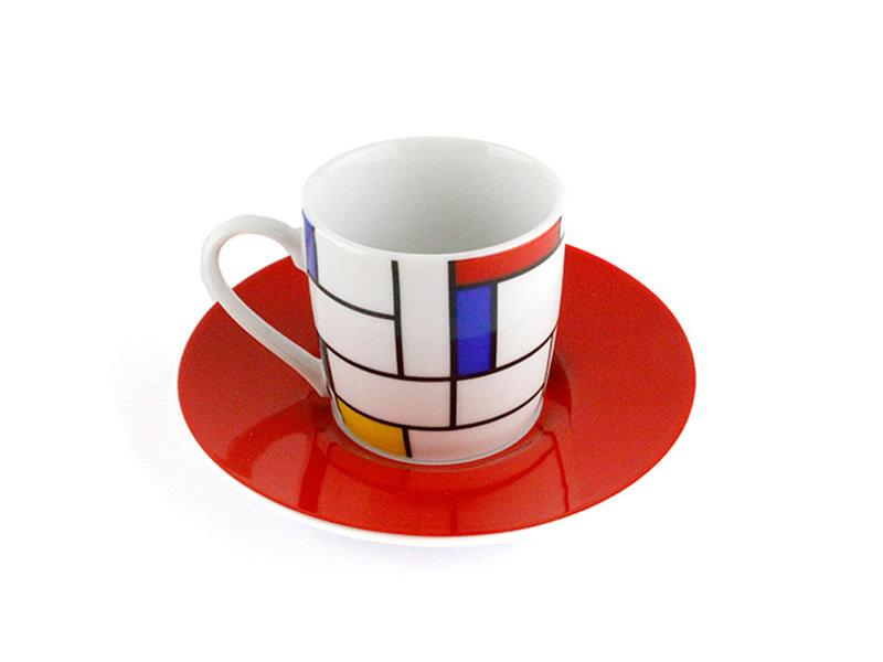 Set van 2 Espresso kopjes  en schotels Mondriaan