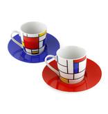 Lot de 2 tasses et soucoupes Espresso Mondrian