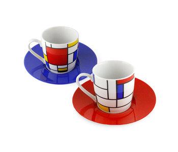 Set van 2 Espresso kopjes  met schotels,  Mondriaan