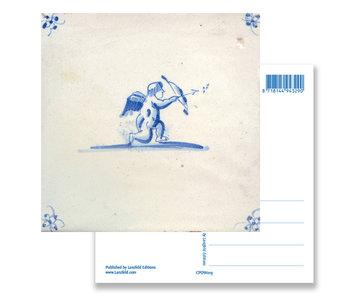 Postal, azulejo azul de Delft, Cupido