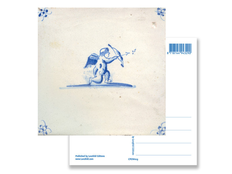 Ansichtkaart, Delfts blauwe tegel, Cupido