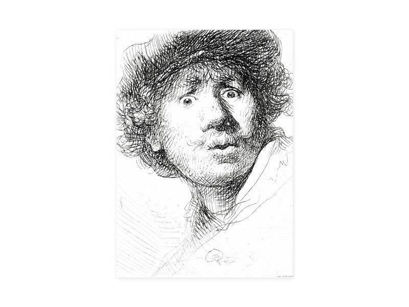 Geschirrtuch, Selbstporträt mit erstauntem Blick, Rembrandt
