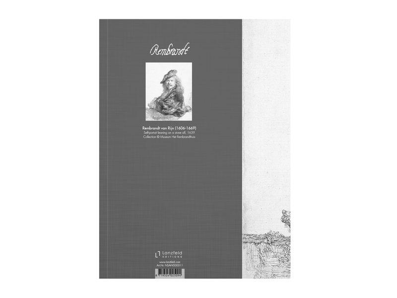 Softcover Kunst Skizzenbuch,  Selbstporträt auf einer Steinschwelle, Rembrandt