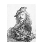 Softcover art sketchbook,    Self-portrait leaning on a stone sill, Rembrandt