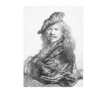 Cahier d'artiste, autoportrait s'appuyant sur un rebord de pierre, Rembrandt