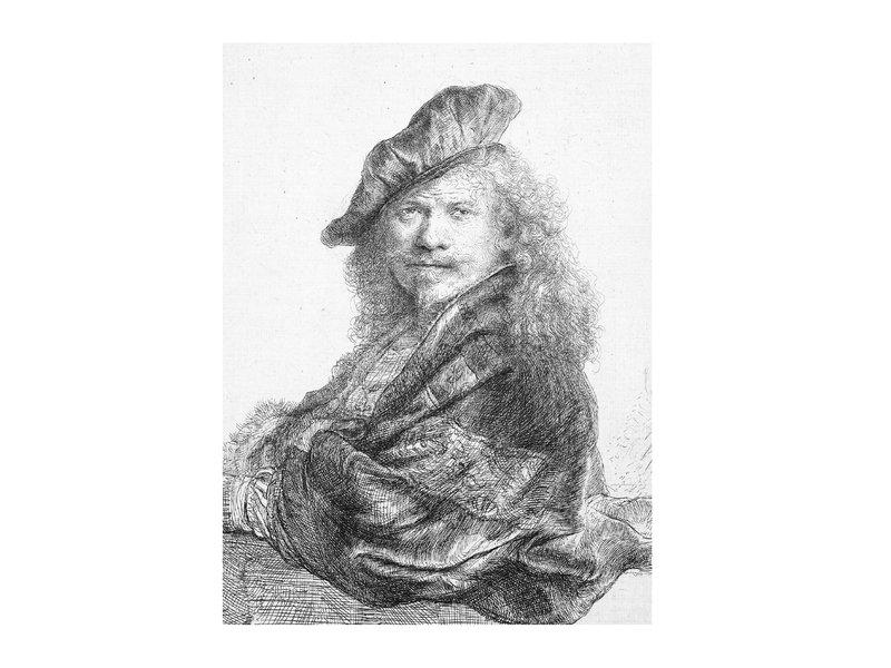 Cuaderno de dibujo de tapa blanda, autorretrato apoyado en un alféizar de piedra, Rembrandt