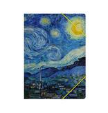 Paper file folder with elastic closure, Starry night, Van Gogh