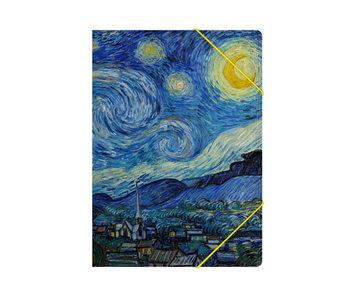 Chemise à dossier en papier avec fermeture élastique, A4,Nuit étoilée, Van Gogh