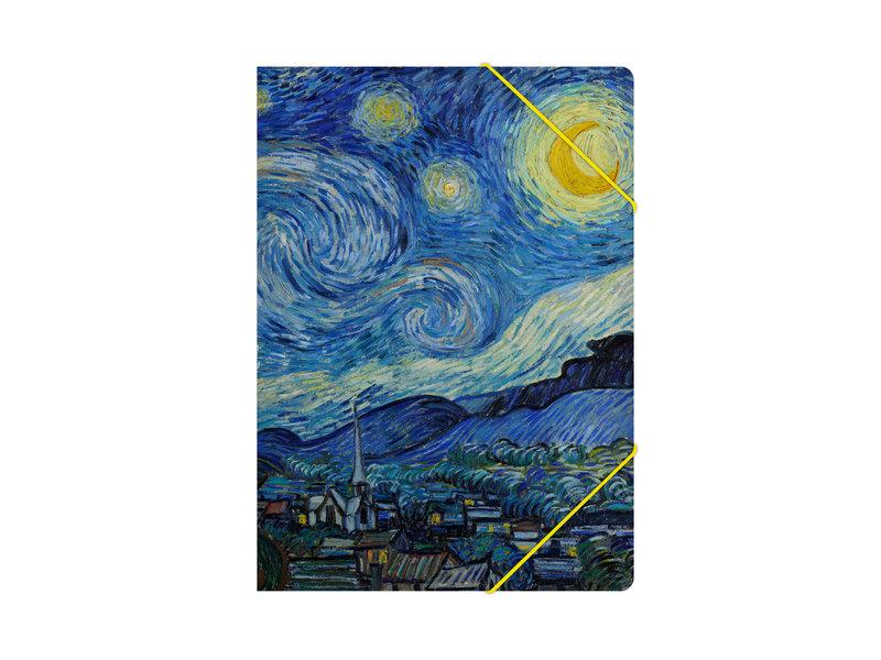 Map met elastische sluiting, A4, Sterrennacht, Van Gogh