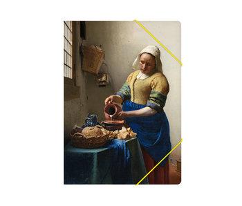 Chemise à dossier en papier avec fermeture élastique, A4, Laitière Vermeer