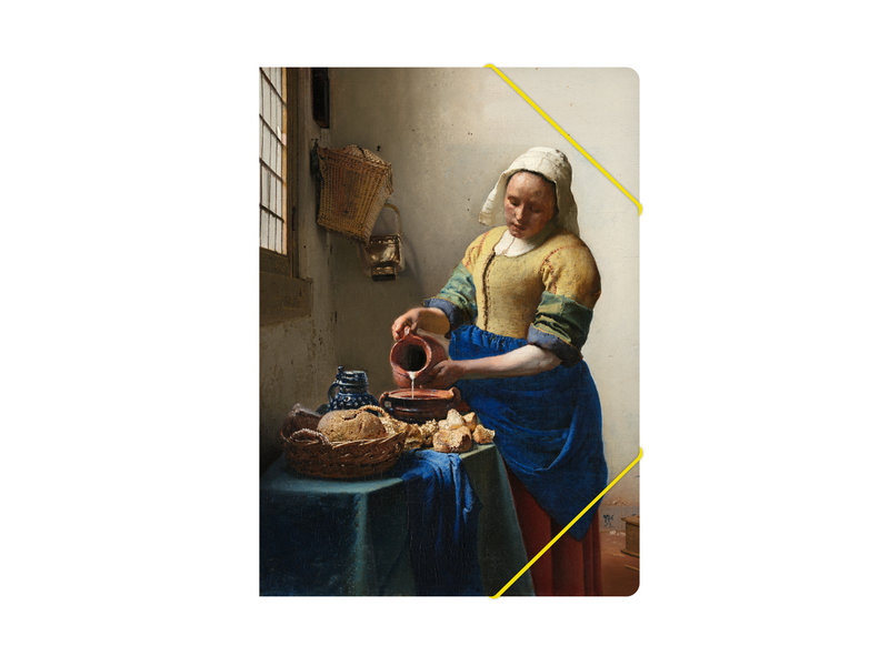 Paper file folder with elastic closure, Milkmaid Vermeer