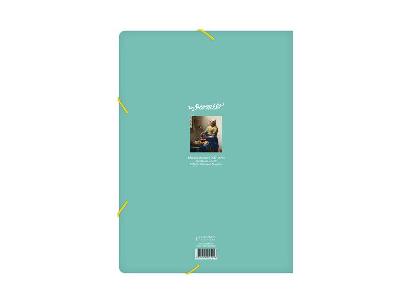 Chemise à dossier en papier avec fermeture élastique, Laitière Vermeer