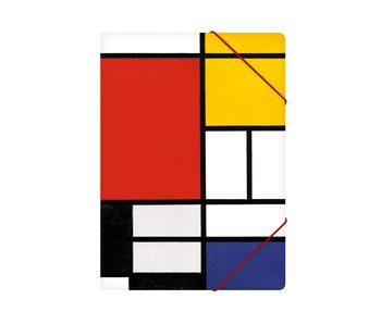 Chemise à dossier en papier avec fermeture élastique, A4,Mondriaan 1