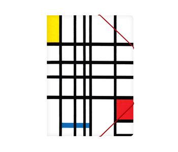Chemise à dossier en papier avec fermeture élastique, A4,Mondriaan 2