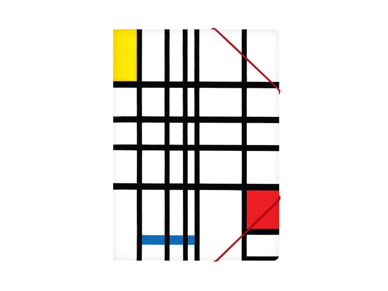 Paper file folder with elastic closure, Mondriaan 1 -2