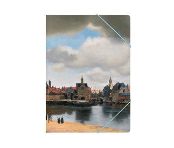 Chemise à dossier en papier avec fermeture élastique, A4,vue de Delft, Vermeer
