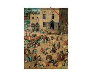 Chemise à dossier en papier avec fermeture élastique, A4, Bruegel, Jeux pour enfants