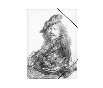 Carpeta archivadora de papel, autorretrato apoyado en un alféizar de piedra, Rembrandt
