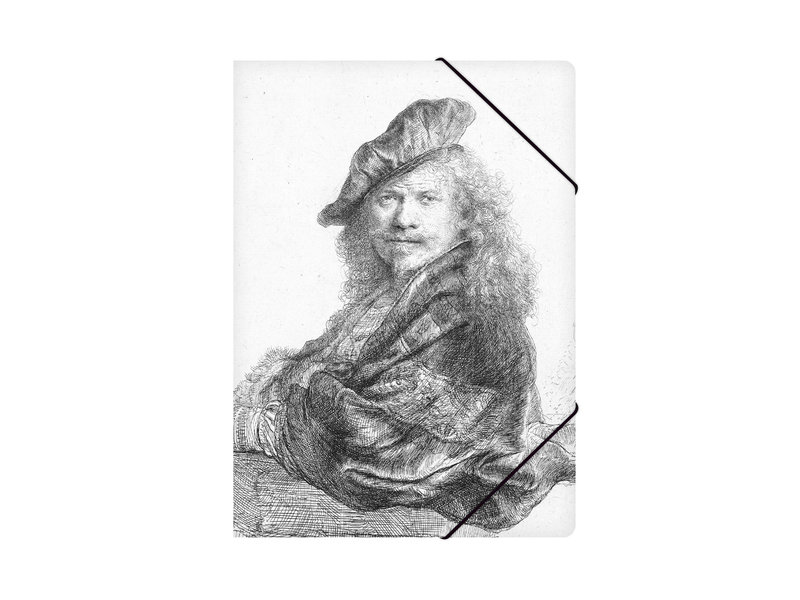 Paper file folder with elastic closure, Self-portrait leaning on a stone sill, Rembrandt