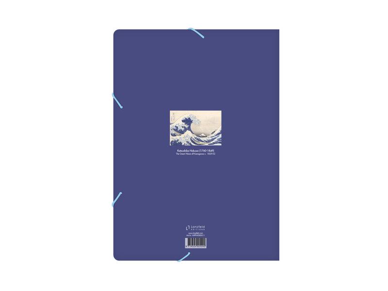 Chemise à dossier en papier avec fermeture élastique, Hokusai, La grande vague