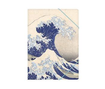 Chemise à dossier en papier avec fermeture élastique, A4, Hokusai, La grande vague