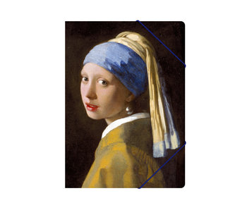 Paper file folder with elastic closure,A4, Girl with the Pearl, Vermeer