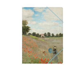 Carpeta archivadora de papel con cierre elástico, A4,Monet, campo de amapolas