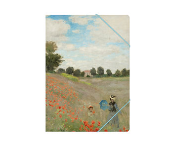 Paper file folder with elastic closure,A4, Monet, Field with poppies