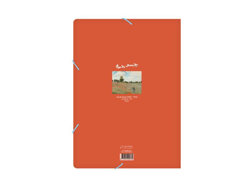 Chemise à dossier en papier avec élastique, A4,Monet, Champ de coquelicots